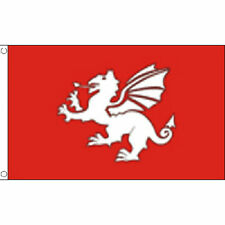 English White Dragon Flag (C) 5Ft X 3Ft Pendragon England Historical Banner New