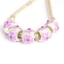 5pcs Silver filled DIY CZ Purple  Flower Bead Fit European Charm Bracelet