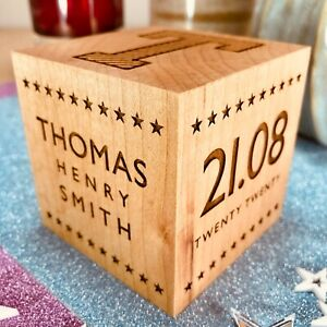 Personalised Wooden Baby Block   New Parents   Christening   Baptism   Birthday