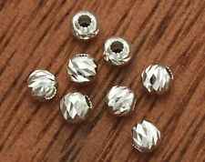 925 Sterling Silver 30 Diamond Cut Spacer Beads  3mm