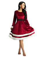 Womens Christmas Mrs Santa Claus Costume Cosplay Long Sleeves Fancy Dress Outfit