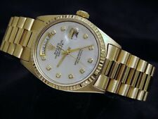 Mens Rolex Day-Date President Solid 18K Yellow Gold Watch White MOP Diamond 1803