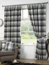 Rideaux et cantonnières gris prêt à l'emploi en polyester pour la maison