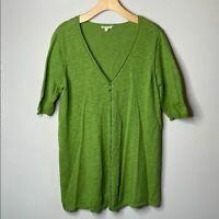Eileen Fisher Linen Cotton Blend Green Elbow Sleeve Button-Up Top Large Petite