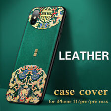For iPhone 11 Pro Max Leather Case Cover 3D Chinese Cameo Shockproof Cases