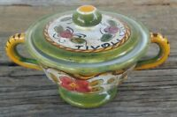 Deruta Italian Art pottery Sugar Bowl With Lid Hand Painted Majolica Tivoli