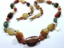 """New NOS Antique Vintage Natural Stone Agate Bead Necklace 25.5"""" Long  #FASH63"""