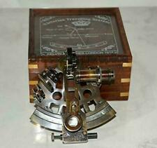 Nautical Astrolabe Maritime Antique Wood Box Glasstop Brass Collectible Sextant