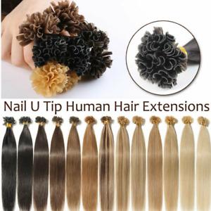Pre-Bonded U Tip Hair Extensions Keratin Nail Shape Tip Remy Human Hair Thick 1g