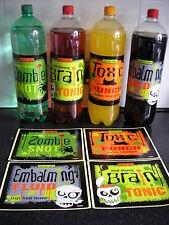 4 Halloween pop bottle labels,zombie snot,toxic punch,brain tonic embalming