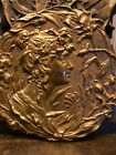 RARE Stunning Antique Art Nouveau Floral Bronze Wall Plaque From Collection