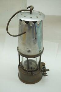 ANTIQUE MINERS LAMP COAL MINING LANTERN LIGHT BRASS HANGING PYREX GLASS SHADE d