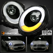 2007-2012 Mini Cooper Black Clear LED Bar DRL Halo Ring Projector Headlights