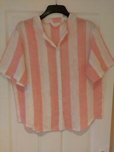 Ladies Alexon Shirt Blouse Short Sleeves Size Large / 22 Pink White Striped