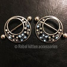 14g Pair Of Cz Sparkle Blue White Circle Vine Flower Nipple Shield Ring