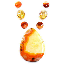 Ambre Feu agate collier pendentif perle set handmade jewelry making art rochers