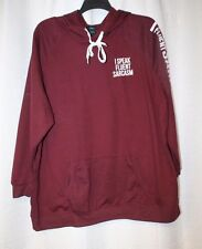 NEW WOMENS PLUS SIZE 3X BURGUNDY MAROON I SPEAK FLUENT SARCASM HOODIE SWEATSHIRT