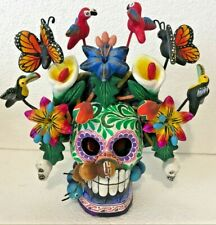 Skull Day of the Dead Bird Butterfly Mexican Pottery Folk Art Puebla Montesinos