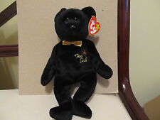 Ty Beanie Babies THE END Black Bear w/Gold Bow Tie - RARE Flat Tush Tag - 1999