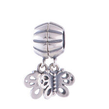 Genuine Sterling Silver Butterfly Forever Friends Dangle Charm Bead for Bracelet