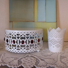 White metal cake stand with red gemstones/candy holder