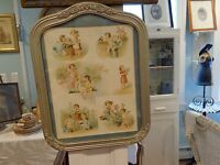 Antique painted gray frame with picture children animals flowers