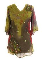 Ladies Printed Embellished Polyester Missy Tunic Top Blouse S-M-L-XL NWT