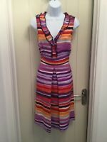 PUR UNA By M & S Ladies Multi Coloured Linen Summer Dress, Size 10 Long Length
