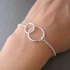 Bracelet deux cercles entrelacés anneaux toi et moi en argent 925/1000 BR152
