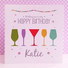 Cocktail Time HANDMADE Personalised Birthday Card Special Friend 18th 21st 30th