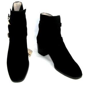 Stuart Weitzman Boots Lady Horse Riders Leather Sweden Black Suede 41 Mint Box