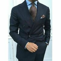 Pinstriped Men Black Suits Double-breasted Wide Peak Lapel Formal Groom Tuxedos+