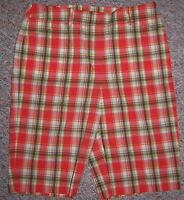 JONES NEW YORK Orange Plaid Knee Length Long Shorts or Capris Pants Size 8 NWOT