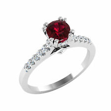 0.82 Ct Round Natural Ruby Engagement Ring 14K White Gold Diamond Rings &458