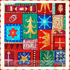 BonEful FABRIC FQ Cotton Quilt Patchwork L Holiday Xmas Tree Gold Star Snowflake
