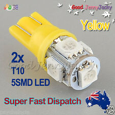 LED 2x T10 Yellow 5SMD 5050 for Car Side Lights Parker Bulbs Lamps DC 12V
