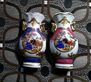 Set  2 Maranelo Miniature Vases, Gold Trim Accents, Pink, Blue, Italy SHIPS FREE