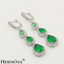 Topaz Gemstone 925 Sterling Silver Earrings 75% Off Fresh Green & White