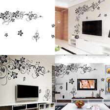Wandtattoo Blumenranke Schwarz Wohnzimmer TV Schmetterling Ornament Dekor