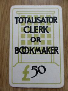 TOTOPOLY TOTALISATOR CLERK or BOOKMAKER £50 CARD,VINTAGE 1949,WADDINGTON