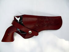 """Gun Holster #61- 4 to 5""""  Barrel - Right Hand - 38 Cal - Wine - Tooled - Leather"""