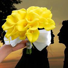 Artificial Wedding Flowers 18 Head Real Touch Yellow Calla Lily Bridal Bouquet