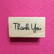 Thank You Rubber Stamp Wood Mounted Recollections Text Script Word Greeting