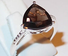 Smoky Quartz solitaire ring (trillion, 2.75ct) in Sterling Silver, Size L.