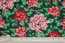 1/2 yard cotton quilt fabric Living Christmas Spirit Flowers Poinsettia Peony