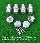 VITAVON Alu#7075 17mm Hex Adapter 10mm offset for Traxxas MAXX 1/10 Erevo silver