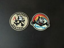 LOT OF 2-FELIX THE CAT EMBROIDERED IRON ON PATCHES  3 X 3