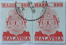 Malaysia Used Revenue Stamps - 2 pcs $50 Stamp (Old Design Big Size)