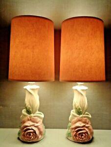 2 VTG Mid Century Modern Vanity Bedside Table Lamps W/ Shades Pair FB Johnson