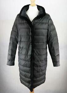 Womens MAX MARA Puffer DOWN Padded Coat Size UK 8 Rabbit Fur trim Long Jacket
